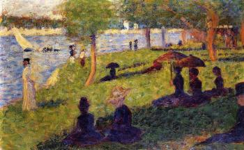 La Grande Jatte, Woman Fishing and Seated Figures