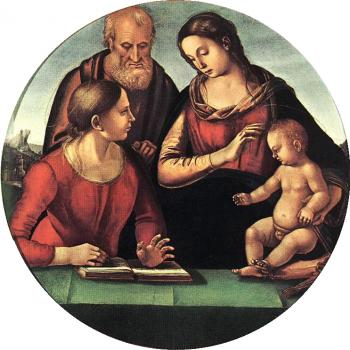 Luca Signorelli : Madonna and Child with St Joseph and Another Saint