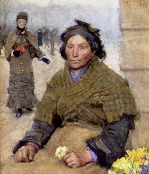 Sir George Clausen : Flora The Gypsy Flower Seller