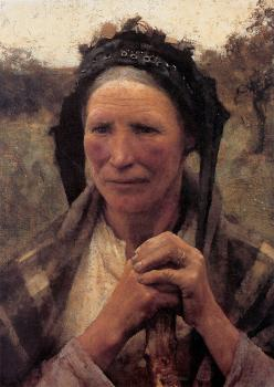 Sir George Clausen : Head of a Peasant Woman