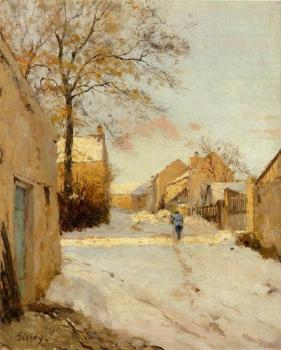 Alfred Sisley : A Village Street in Winter