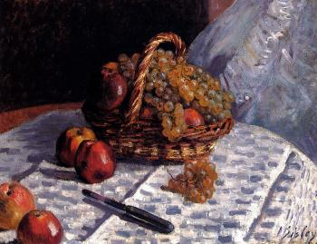 Still Life, Apples And Grapes
