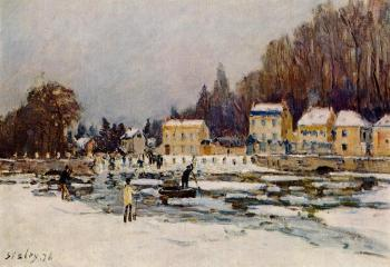 Alfred Sisley : The Blocked Seine at Port-Marly