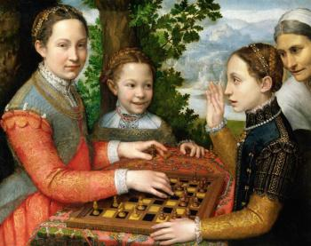 Sofonisba Anguissola : Lucia, Minerva and Europa Anguissola playing chess