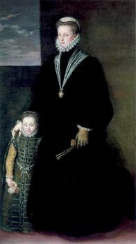 Sofonisba Anguissola : Portrait of juana of austria with a young girl