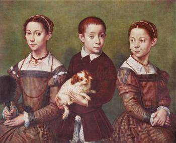 Sofonisba Anguissola : Three children with dog