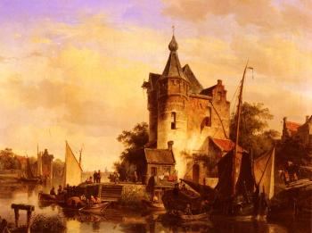 Cornelis Springer : Along The Canal