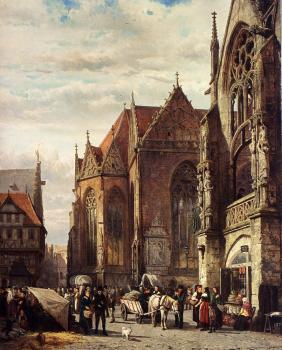 Many Figures On The Market Square In Front Of The Martinikirche Braunschweig