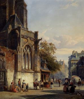 Town Square Before A Church A Capriccio