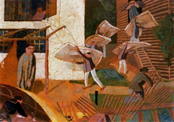 Stanley Spencer : Carrying Mattresses