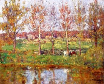 Theodore Clement Steele : Cows by the Stream
