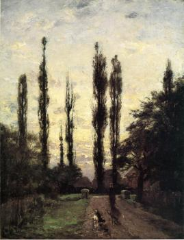 Theodore Clement Steele : Evening, Poplars