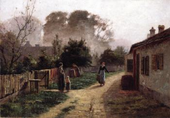 Theodore Clement Steele : Village Scene