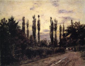 Theodore Clement Steele : Evening, Poplars and Roadway near Schleissheim