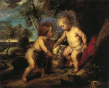 Theodore Clement Steele : The Christ Child and the Infant St. John after Rubens