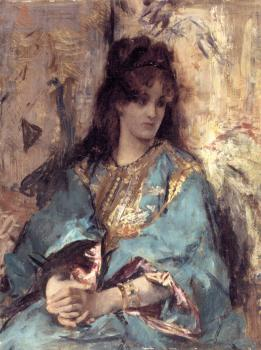 Alfred Stevens : A Woman Seated in Oriental Dress