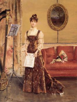 Alfred Stevens : Lady with a Harp