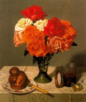 Stone Roberts : Still Life with Roses and Brioche