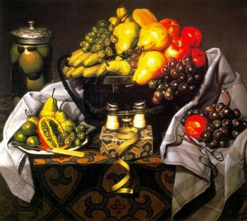 Fruit, gift and opera glasses