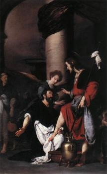 Bernardo Strozzi : St Augustine Washing the Feet of Christ