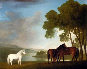 George Stubbs : Stubbs George Two Bay Mares And A Grey Pony In A Landscape