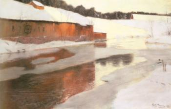 Frits Thaulow : A Factory Building near an Icy River in Winter