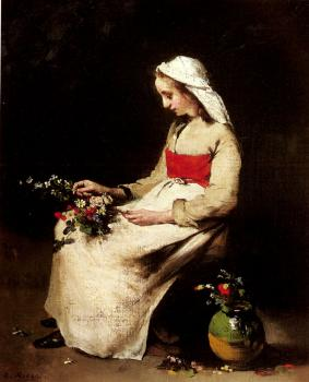 Theodule-Augustin Ribot : A Girl Arranging A Vase Of Flowers