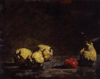 Theodule-Augustin Ribot : Still Life with Pears and a Quince