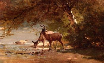 Thomas Hill : Deer in a Landscape