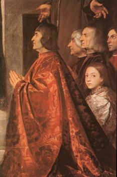 Titian : Madonna with Saints and Members of the Pesaro Family detail