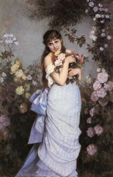 A Young Woman in a Rose Garden