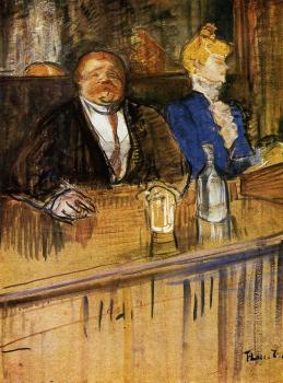 Henri De Toulouse-Lautrec : At the Cafe The Customer and the Anemic Cashier