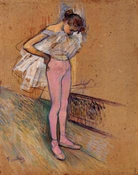 Henri De Toulouse-Lautrec : Dancer Adjusting Her Tights