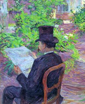 Henri De Toulouse-Lautrec : Desire Dihau Reading a Newspaper in the Garden