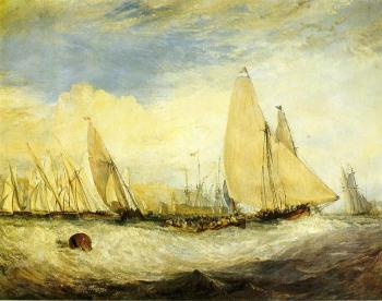 Joseph Mallord William Turner : East Cowes Castle, the seat of J. Nash, Esq, the Regatta beating to windward