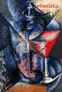 Umberto Boccioni : Still Life with Glass and Syphon