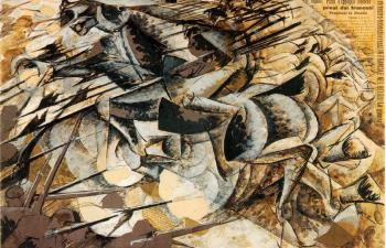 Umberto Boccioni : Charge of the Lancers