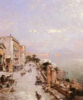 Franz Richard Unterberger : A View of Posilippo Naples