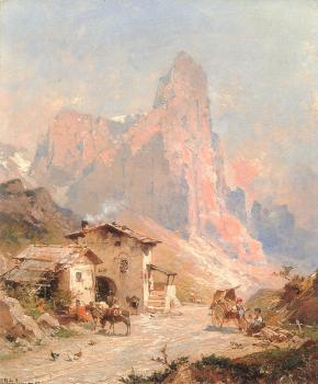Franz Richard Unterberger : Figures in a Village in the Dolomites