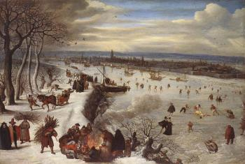View of Antwerp with the Frozen Schelde