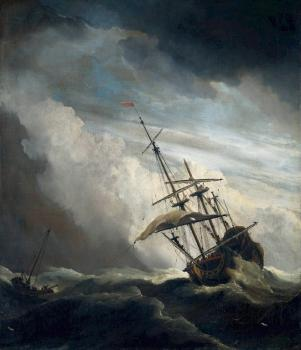 Willem Van De Velde The Younger : Ship in High Seas Caught by a Squall
