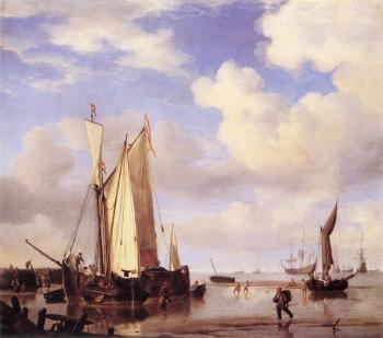 Willem Van De Velde The Younger : Ships Close Inshore at Low Tide