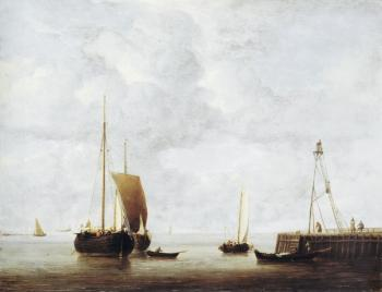 Willem Van De Velde The Younger : A Dutch Hoeker at Anchor near a Pier