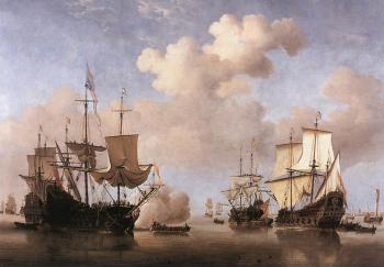 Willem Van De Velde The Younger : Calm: Dutch Ships Coming to Anchor