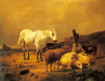 Eugene Joseph Verboeckhoven : A Horse, Sheep and a Goat in a Landscape
