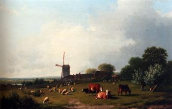 Eugene Joseph Verboeckhoven : A Panoramic Summer Landscape With Cattle Grazing In A Meadow