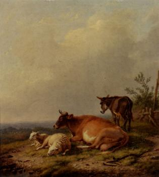 Eugene Joseph Verboeckhoven : A Cow A Sheep And A Donkey