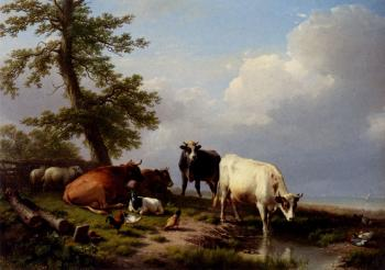 Eugene Joseph Verboeckhoven : Animals Grazing Near The Sea