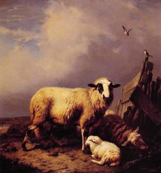 Eugene Joseph Verboeckhoven : Guarding the Lamb