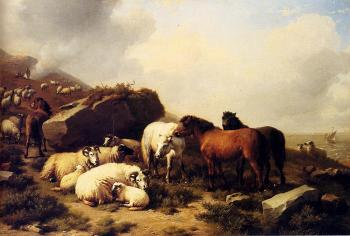 Eugene Joseph Verboeckhoven : Horses And Sheep By The Coast